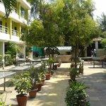 Hotel down garden dining area