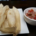 Tamales with the amazing condiment.