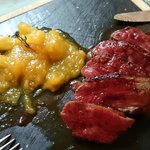 Duck magret with pineapple-mango chutney (delicious!)