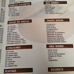 More of the menu as of June 11, 2014