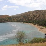 View of Hanauma Bay from observation area near Admission