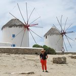 in Mykonos in front of the world famous windmills taken on 6/3/14