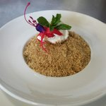 Rhubarb and apple crumble with cream