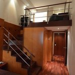 Staircase to upper level of duplex room at Pau Claris, Barcelona.