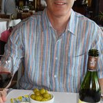 Enjoying the food, and wine