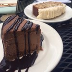 Banana nut bread and chocolate cheese cake with chocolate sauce!