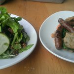 Local greens and homemade lamb sausage with kale and chickpeas.