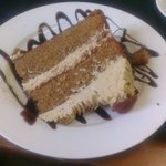 Coffee and walnut cake that filled the plate and was fantastic!