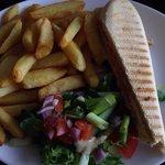 Half the panini allready eaten at time of photo!. £3.99 Fresh, good value, tasty food.