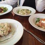 Salad, risotto, salmon, asparagus tart.