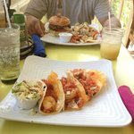 The amazing shrimp tacos and that yummy burger
