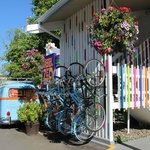 Bike rack, vibrant colors and VW van!