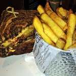 Delicious Reuben Sandwich and hand-cut fries