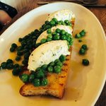 just yum oven baked bread , cheese and peas ...serious taste