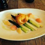 white n green asparagus with crispy hens egg and grapefruit