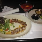 My lovely Seared Ahi with salad and cosmo, and various sauces