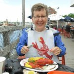 Enjoying our lucky catch.  Seriously the best lobster we have tasted!!