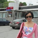 Lovely Li in front of the Diner