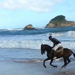 Lesley enjoying a late afternoon ride. Horseback riding St.Lucia