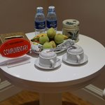 Complimentary fruit, water, and tea