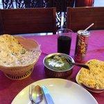Garlic naan, chicken saagwala and basmati rice.