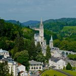 Photo taken of the Basilica from Lourdes Castle