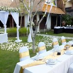 Wedding set up in the Executive Villa garden