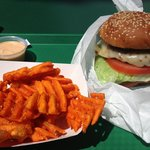 Jalapeño burger and Sweet Potato fries! Amazing!