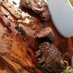 Overcooked & greasy venison mixed grill