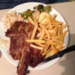 T-bone steak, as big as the plate!