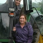 The land girls in a Tractor Grand Prix