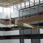 Replica airplane above the atrium