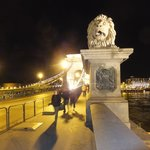 Stone Lion guardians on the Chain Bridge