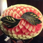 beautiful craved fruit at entrance for breakfast
