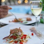 Lovely food by the pool, 1st course (this was an exception to the rule of eating in the restaura