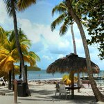 relax at a tiki table,in a hammock or on the beach