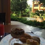 Breakfast looking out onto the gardens and lake