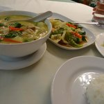 Green curry and steamed vegetables.