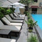 sunbeds adjacent to the pool