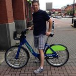 my husband on the Chattanooga city bikes for rent