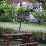 Picnic area outside cabin