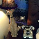 Poodle lamp and silver phone
