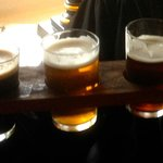 Three fine beers on a Beer Bat - each one third of a pint