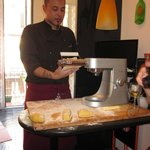 Chef Stefano demonstrates pasta making