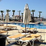 Around the pool great news cant reserve sunbeds but plenty for all.