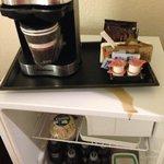 Coffee dripping down on fridge