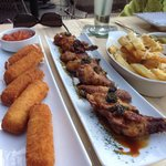 Truffle parmesan fries, bakes wings, and cheese sticks :)
