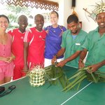 Making Swahili hats with hotel staff