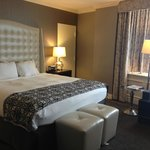 hotel room, king bed