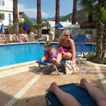 lowri & summer by the pool